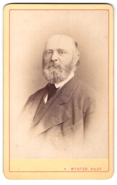 Fotografie M. L. Winter, Prag, Portrait älterer Herr mit Vollbart im Anzug