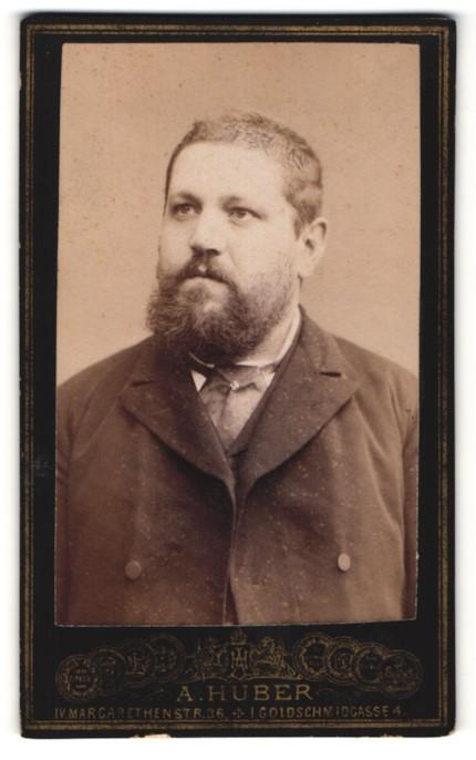 Fotografie A. Huber, Wien, Portrait Herr mit Vollbart im Anzug mit Krawattentuch