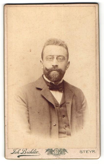 Fotografie Joh. Bichler, Steyr, Portrait bürgerlicher Herr mit Vollbart und Fliege