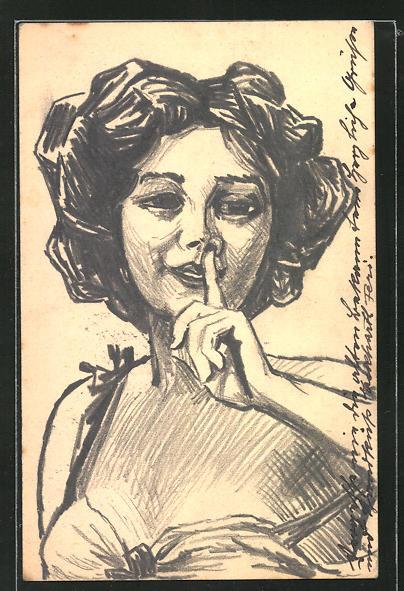 Künstler-AK Handgemalt: Porträt einer Frau die um Stille bittet, Ganzsache