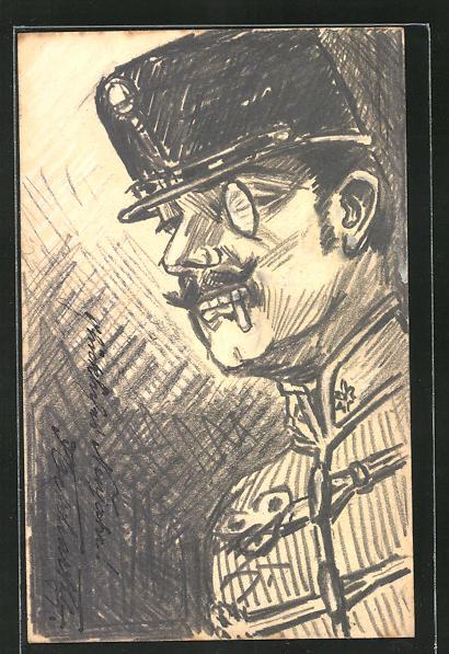 Künstler-AK Handgemalt: Offizier in Uniform mit Monokel