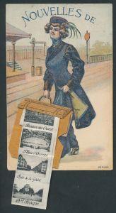 Leporello-AK Frau mit Koffer, La Gare, Le Théâtre, La Cascade, Hotel de Ville, Rue de la Gare, Panorama Ouest