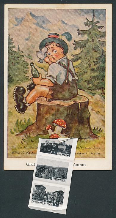 Leporello-AK Königstein / Taunus, Wanderer macht rast auf einem Baumstumpf, Ruine Relfenberg, Ruine Königstein, Ruine