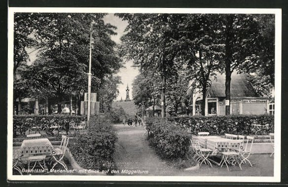 AK Berlin-Köpenick, Gasthaus Marienlust mit Blick auf den Müggelturm