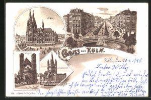 Lithographie Köln-Neustadt, Dom, St. Gereon, St. Martin, Hohenstaufenring