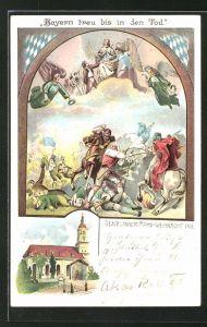 Lithographie München-Sendling, Sendlinger Mord Weihnacht 1705, Kirche