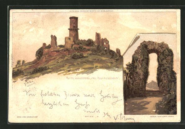 Künstler-AK Carl Biese: Bonn, Ruine Godesberg und Rolandsbogen