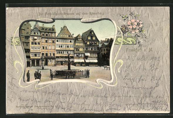 AK Alt-Frankfurt, der Gerechtigkeitsbrunnen auf dem Römerberg