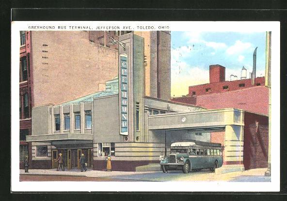 AK Toledo, OH, Greyhound Bus Terminal, Jefferson Ave., Art Deco-Architektur