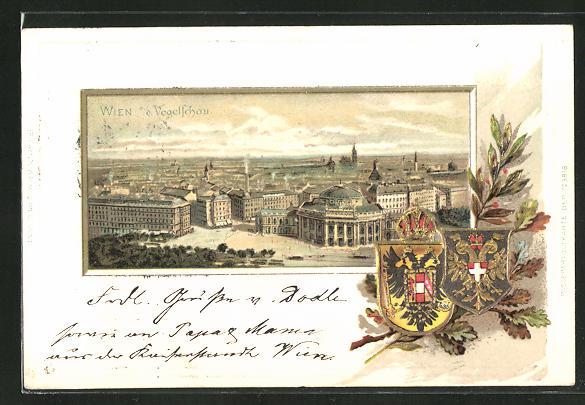 Passepartout-Lithographie Wien, Panorama aus der Vogelschau, Wappen