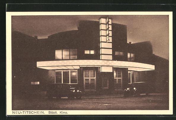 AK Neu-Titschein, Städt. Kino, Architektur