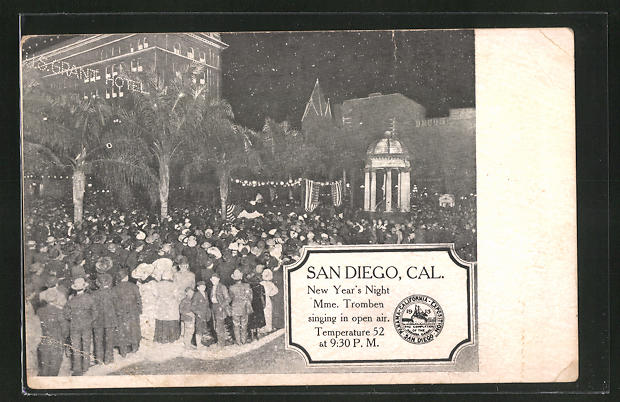AK San Diego, CA, New Year's Night, Mme. Tromben singing in open air