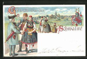 AK Schwälmer Brautpaar in hessischer Tracht wird beglückwünscht