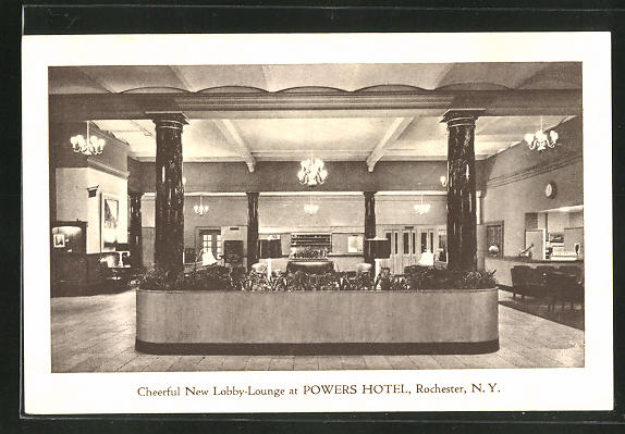AK Rochester, NY, Cheerful New Lobby-Lounge at Powers Hotel