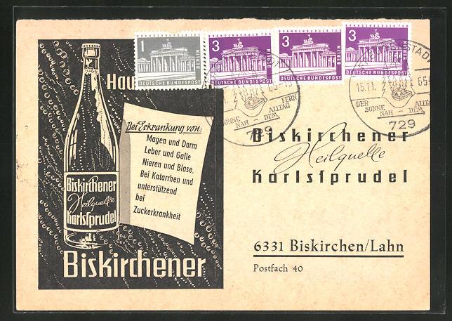 AK Biskirchen / Lahn, Reklame für das Medikament Biskirchener Karlssprudel