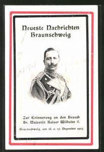 AK Braunschweig, Portrait des Kaiser Wilhelm II. als Erinnerung an den Besuch 1905