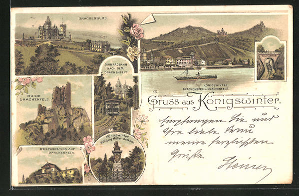 Lithographie Königswinter, Restaurant auf Drachenfels, Drachenburg, Ruine Drachenfels, Zahnradbahn nach dem Drachenfels