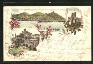 Lithographie Königswinter, Restaurant Drachenfels, Ruine Drachenfels, Totalansicht