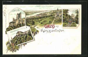 Lithographie Königswinter, Restaurant a. d. Drachenfels, Zahnradbahn Drachenfels, Ruine Drachenfels, Ortsansicht
