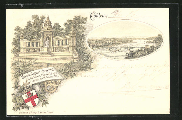 Lithographie Coblenz, Kaiserin Augusta-Denkmal in den Kaiserin Augusta-Anlagen, Ortsansicht