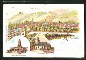 Lithographie Kelbra a. Kyffh., St. Georgskirche, Kaiser Wilhelm-Denkmal, Ortsansicht