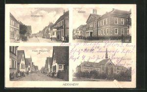 AK Herxheim, Rathaus, St. Paulusstift, Strassenpartie