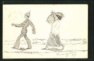 Künstler-AK Handgemalt: Niederländischer Kolonialsoldat und Frau in Tracht mit Schirm