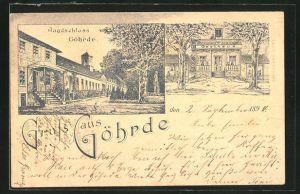 Vorläufer-Lithographie Göhrde, 1898, Ansicht vom Gasthaus Jagdschloss Göhre, Blick auf das Jagdschloss