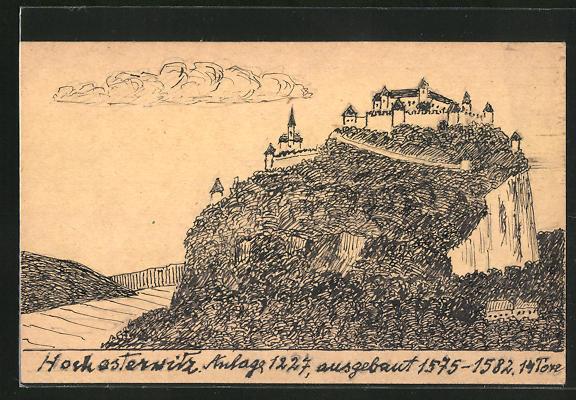 Künstler-AK Handgemalt: Hochosterwitz, Panoramablick auf die Burg