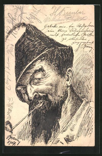 Künstler-AK Handgemalt: Porträt eines bärtigen Mannes mit Hut und Pfeife, Ganzsache