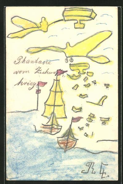 Künstler-AK Handgemalt: Phantasie vom Zukunftskrieg, Flugzeuge bombardieren Schiffe