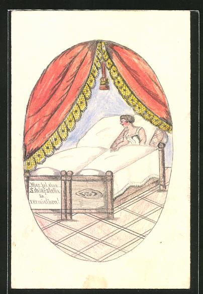 Künstler-AK Handgemalt: Sehnsüchtige Frau hat eine Schlafstelle zu vermieten