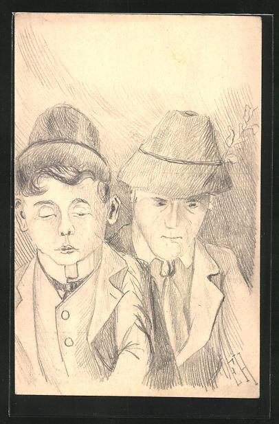 Künstler-AK Handgemalt: Porträt zweier Männer in bayerischer Tracht, Ganzsache