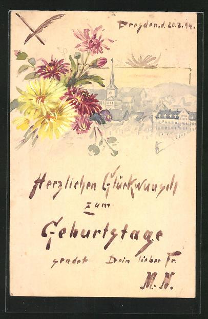 Künstler-AK Handgemalt: Teilansicht einer Stadt, Bunter Blumenstrauss, Geburtstagsglückwunsch, Ganzsache