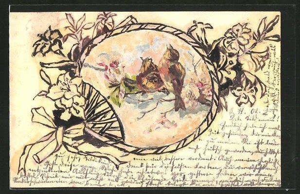 Künstler-AK Handgemalt: Vogelpaar zwitschert auf einem blühenden Zweig, Ganzsache