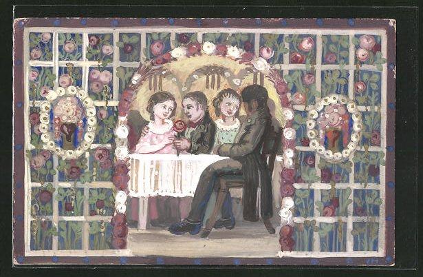 Künstler-AK Handgemalt: Liebespaare in einer Gartenlaube, Ganzsache