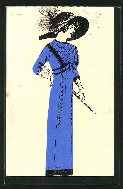 Künstler-AK Handgemalt: Elegante Dame im blauen Kleid mit Hut, Jugendstil