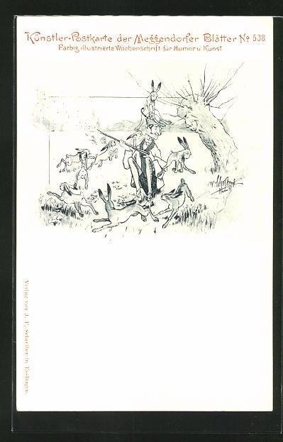 Künstler-AK Meggendorfer Blätter Nr. 508: Hasen treiben Schabernack mit einem nicht treffsicheren Jäger