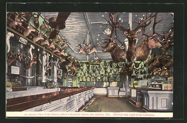 AK San Antonio, TX, an Interior View of the Famous Albert's Buckhorn Saloon