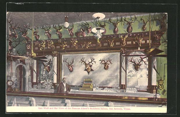 AK San Antonio, TX, East Wall and Bar View of the Famous Albert's Buckhorn Saloon