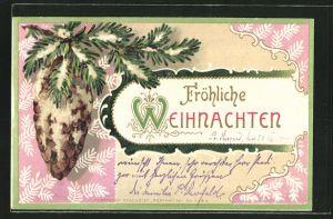 AK Fröhliche Weihnachten, verschneiter Tannenzweig mit Zapfen