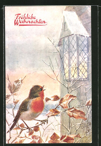 AK Fröhliche Weihnachten, ein Rotkehlchen singt an einer Kirche