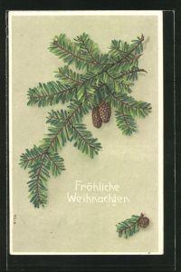 Präge-AK Fröhliche Weihnachten, Tannenzweig mit Zapfen