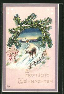 Präge-AK Fröhliche Weihnachten, Reh auf den verschneiten Weg zum Ort, Tannenzweig