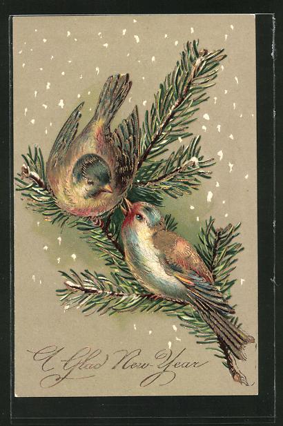 Präge-AK Neujahr, zwei Vögel auf einem Tannenzweig