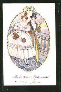 Künstler-AK Neujahr, Junge Frau mit Blumenstrauss, an ihrer Seite Mann mit Zylinder
