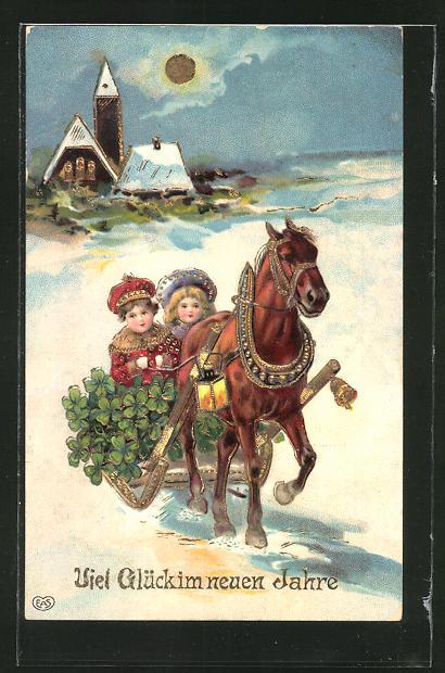 Präge-AK Neujahr, Junge und Mädchen mit Klee auf einem Pferdeschlitten