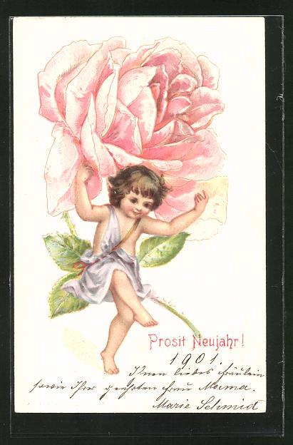AK Neujahr, kleines Mädchen trägt Riesenrose
