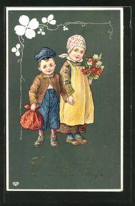 AK Neujahr, zwei Kinder mit Blumenstrauss