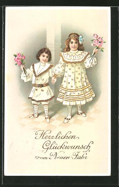 AK Neujahr, zwei Kinder in toller Kleidung mit Blumensträussen